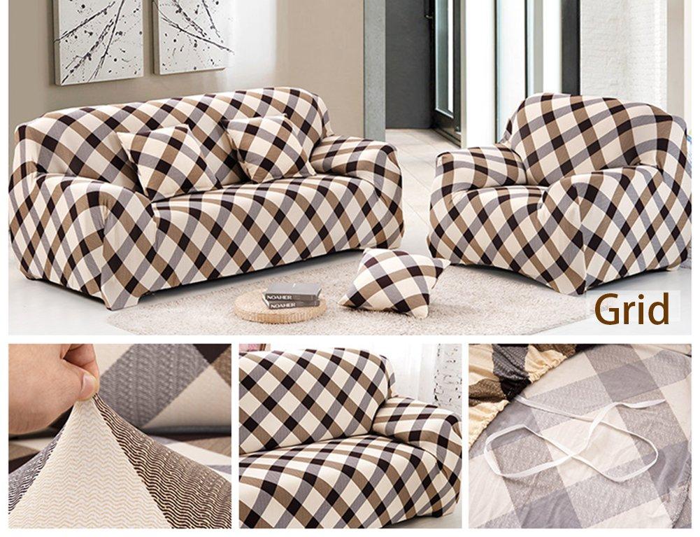 Grid Coperture divano a 1 posti divano Slipcover stretch elastico Pet Dog Couch Protector poliestere tessuto morbido divano copertura stampa floreale 1 posto