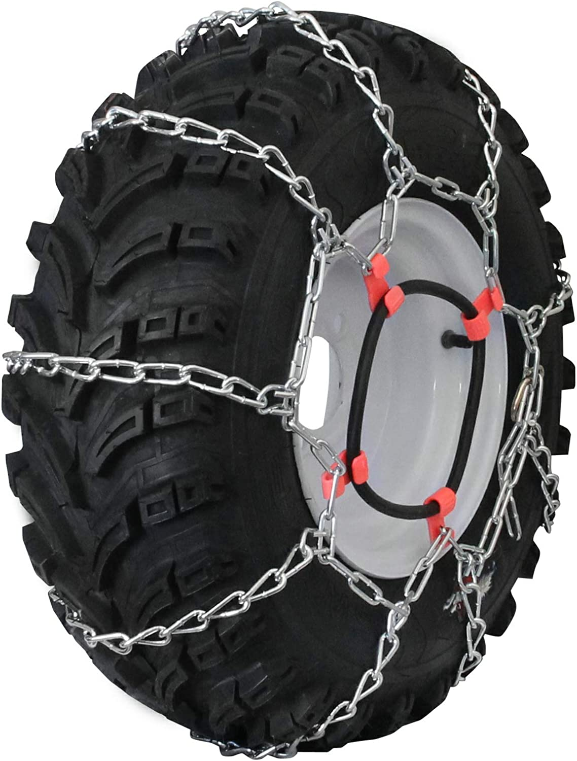 Grizzlar GTU-435 Garden Tractor 4 Link Ladder Alloy Tire Chains Tensioner Included 27x12.50-15 29x12.00-15