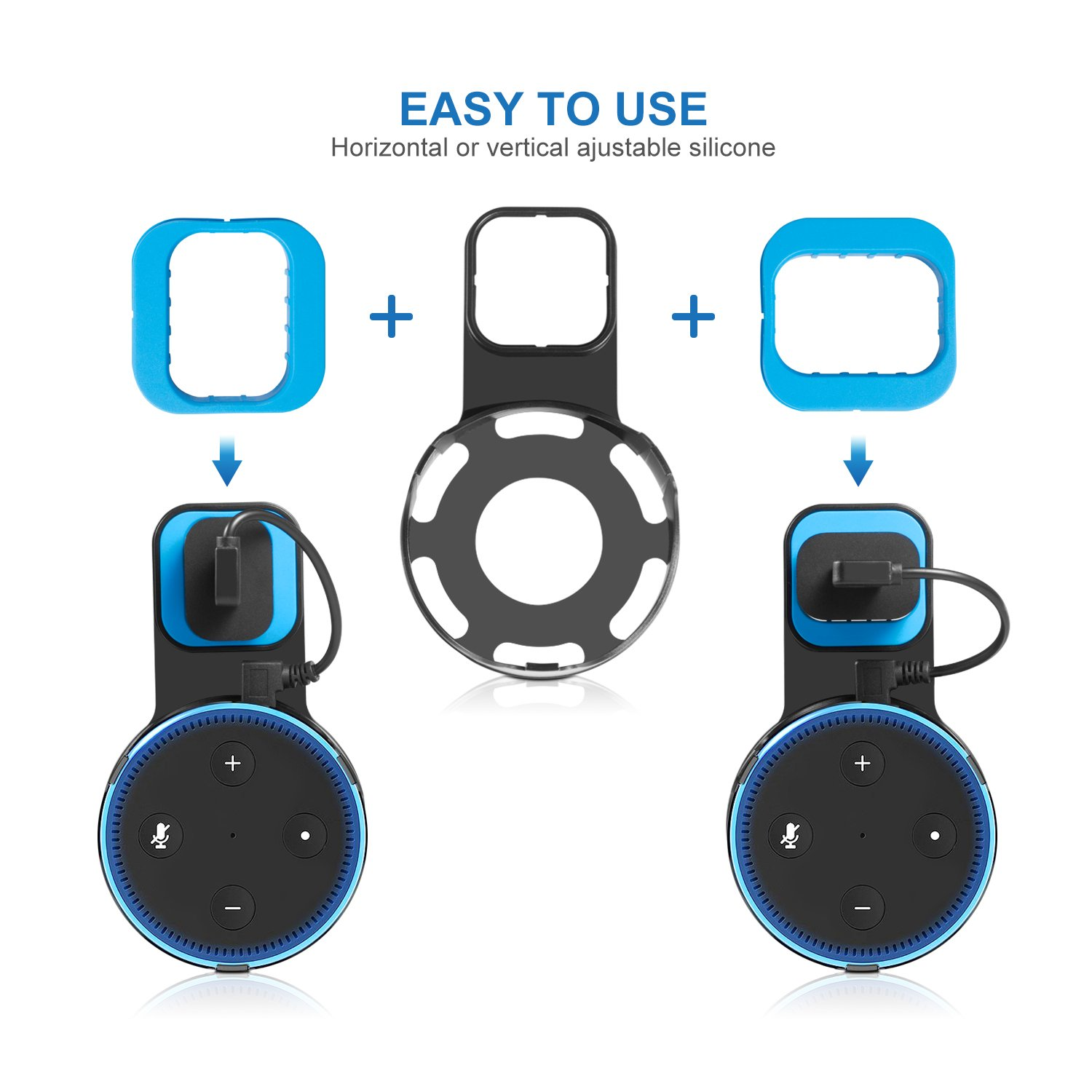 Kupton Wall Mount for Echo Dot 2, Outlet Wall Mount Hanger Holder Stand Clip & Protective Carrying Storage Case Accessories for Echo Dot 2nd Generation Without Messy Wires or Screws – Black by Kupton (Image #3)