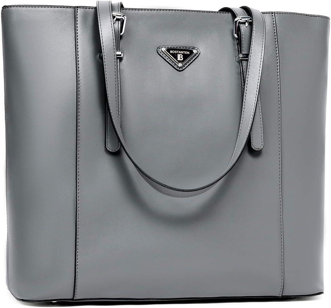 BOSTANTEN Women Briefcase Leather Laptop Tote Handbags 15.6 inch Computer Shoulder Bags Gray