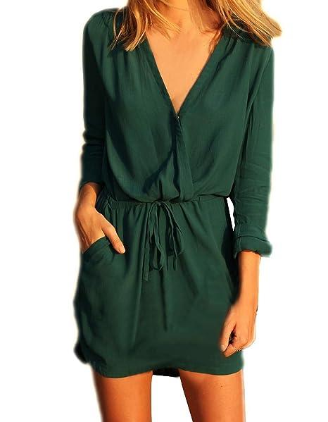 Vestidos De Fiesta Cortos Mujer Elegantes Casuales Fashion Verde Vestido Manga Larga V Cuello Cintura Elástica Vestir Niñas: Amazon.es: Ropa y accesorios