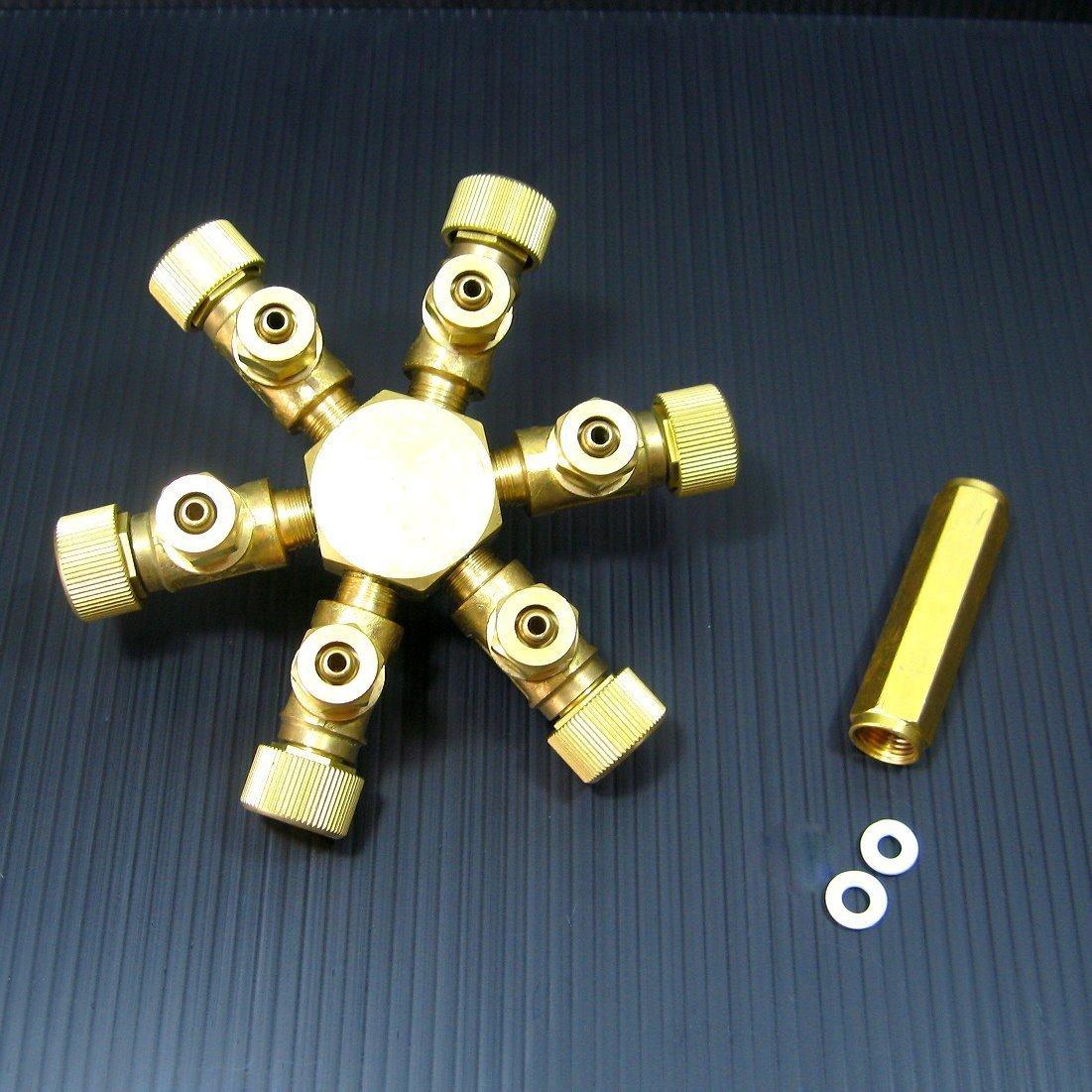 6 way Brass CO2 splitter Regulator Solenoid Diffuser