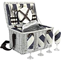 Home Innovation Picnic Basket for 4, Willow Hamper Set with Insulated Compartment, Handmade Large Wicker Picnic Basket…