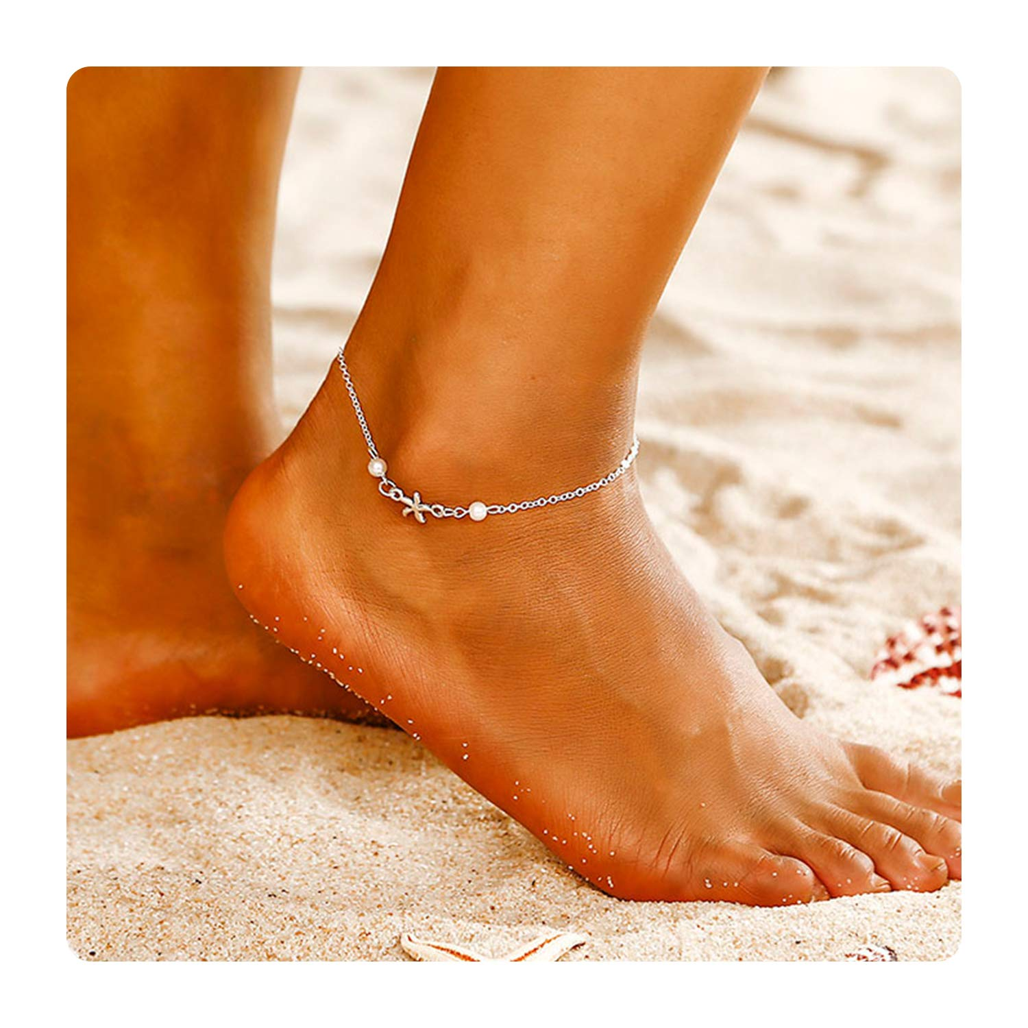 Esberry Starfish Anklet Charm Beach Beads Shell Anklets Boho Heart Silver Plated Foot Chains Handmade Jewelry for Women and Girls