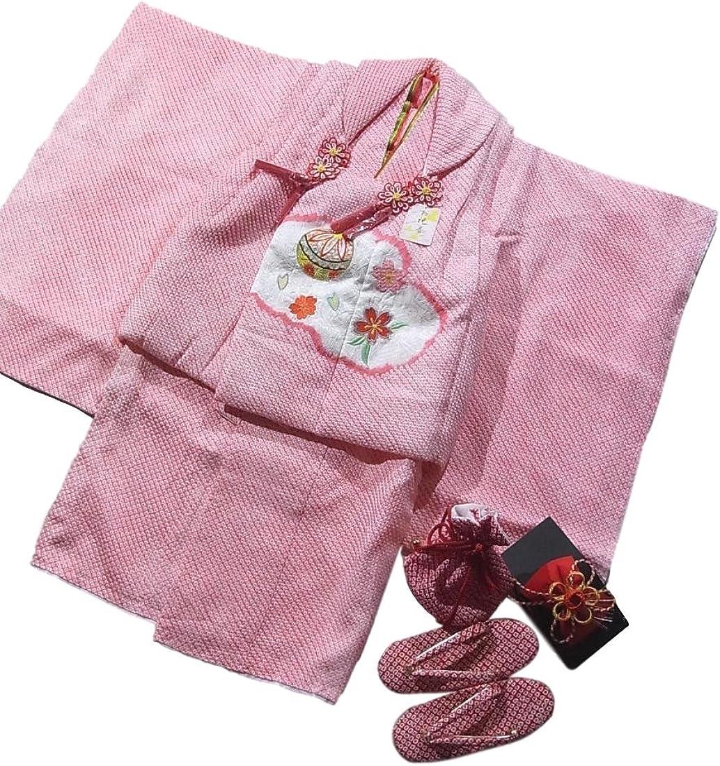 子供着物 七五三 三才 被布セット 絞り 刺繍 雲文に手毬と桜 絹