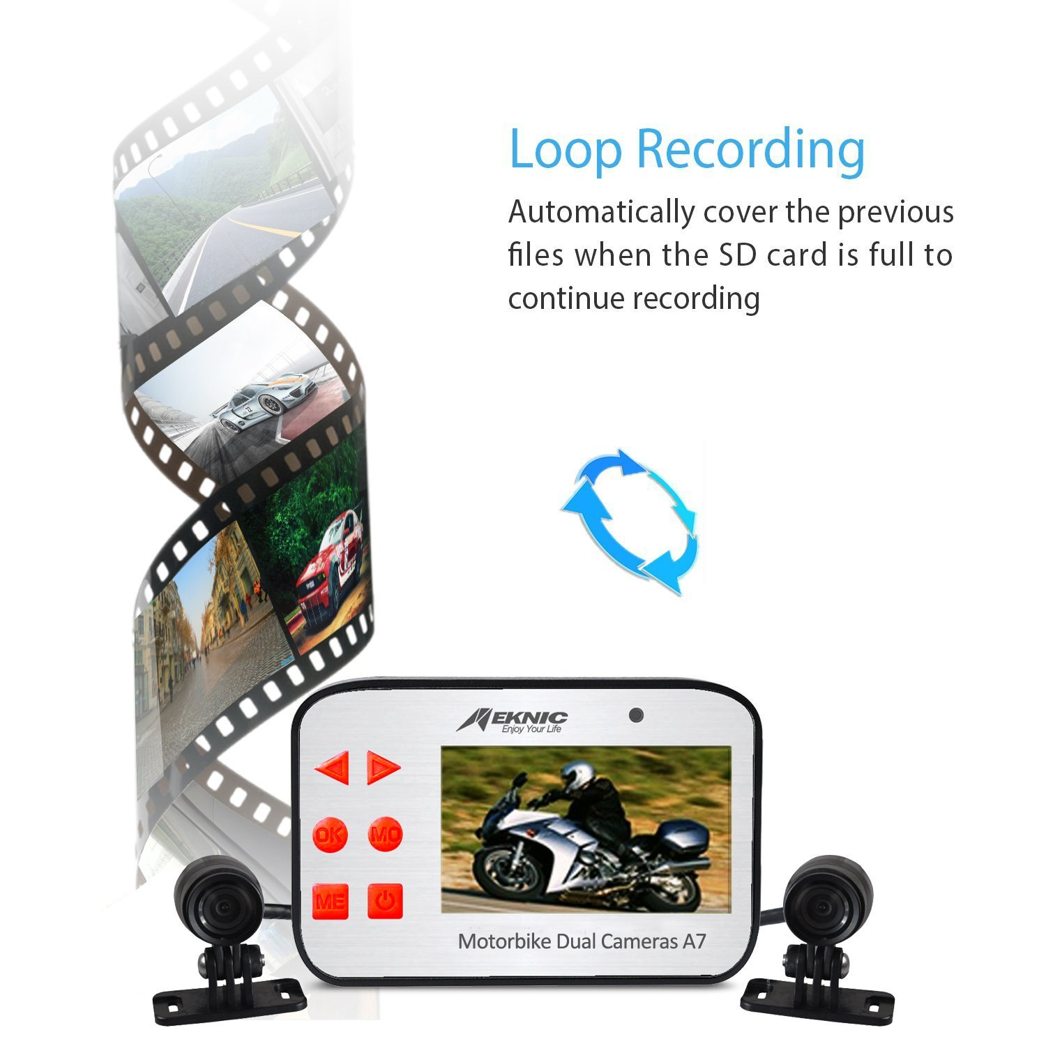 Ltd A7001JP Waterproof Action Camera Motorcycle Driving Recorder,Unique Gift Idea Supremevalue International CO Dual Lens 1080P Video Security Motorbike Camera System with 2.7 Screen Meknic A7 Motorcycle Camera Motorcycle Dash Camera