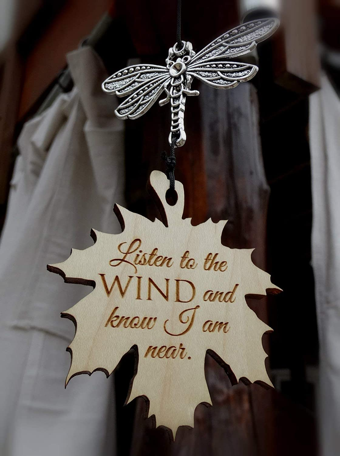 Dragonfly Memorial Wind Chime I am Near Leaf in memory of Loved One Silver Wind Chime for Memorial Garden or Porch Heaven day remembering stillborn baby miscarriage death