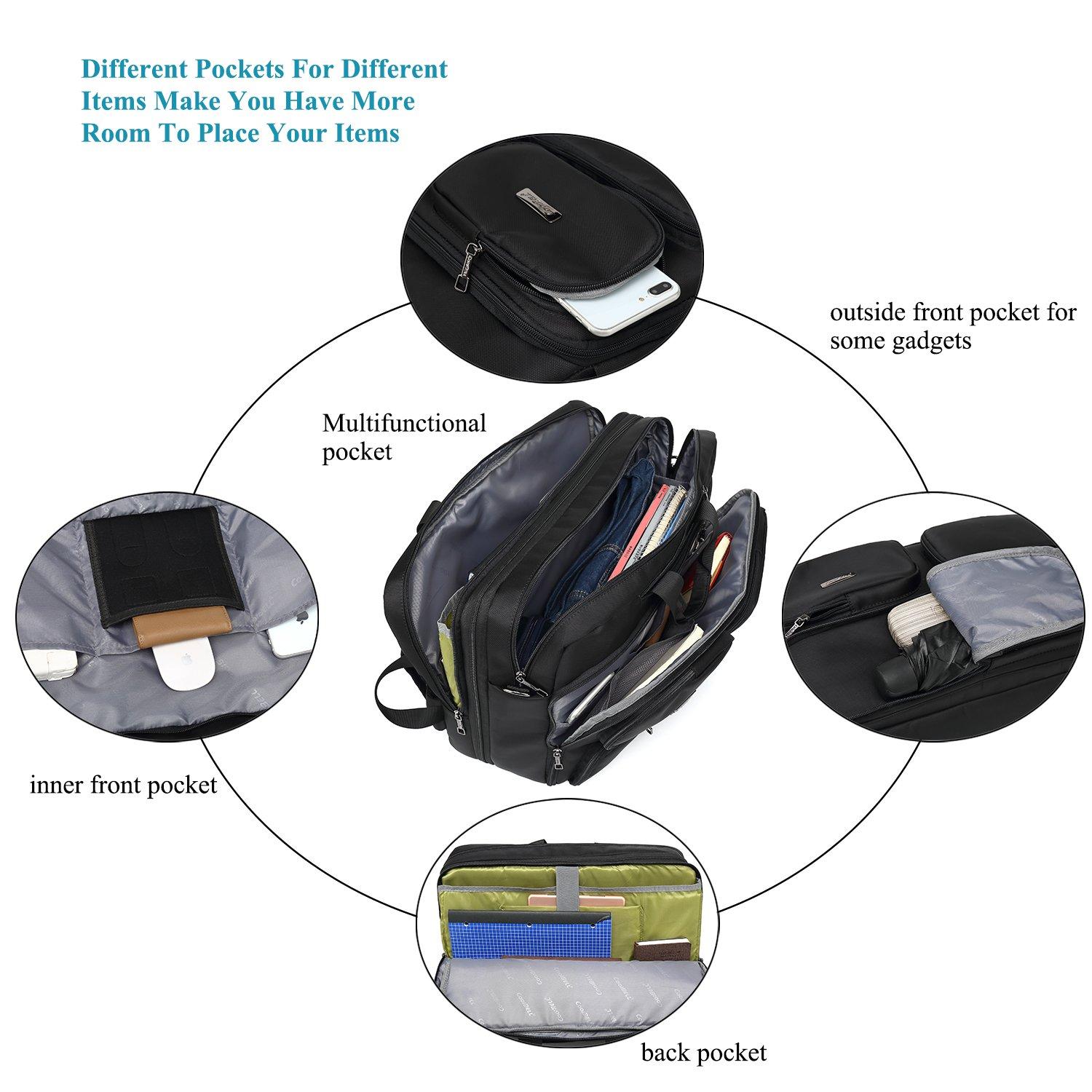 DTBG Laptop Bag Convertible Backpack Messenger Bag Nylon Shoulder Bag Men Women Business Briefcase Travel Rucksack with Side Handbag and Shoulder Strap Fits 17.3 Inches Laptop and Notebook (Black) by DTBG (Image #3)