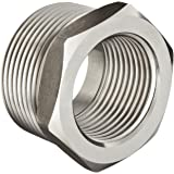 "Stainless Steel 304 Pipe Fitting, Hex Head Bushing, Class 1000, 1"" NPT Male X 1/2"" NPT Female"