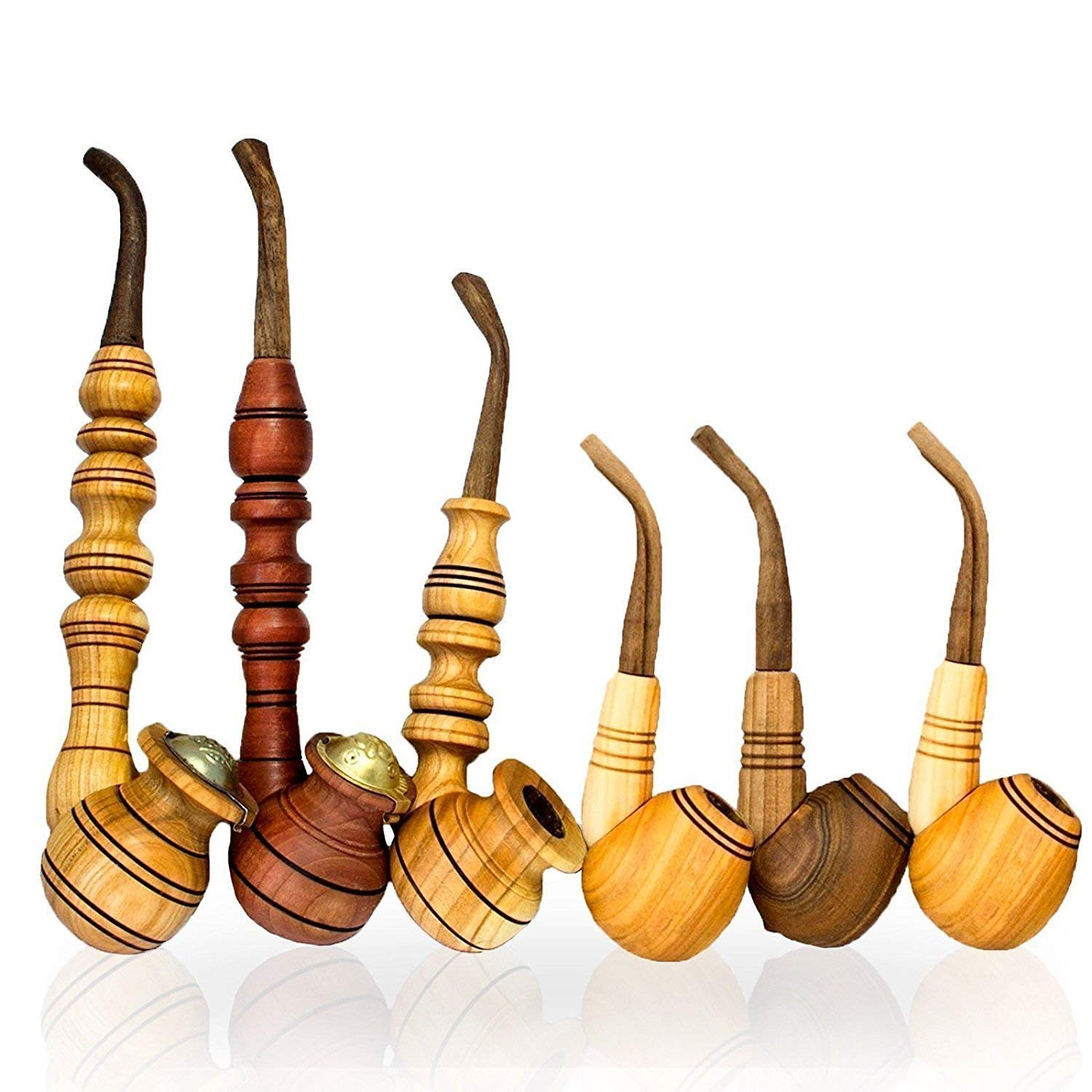6 Pcs Handmade Tobacco Pipes - Wooden Carved Pipes for Smoking Tobacco, Best Gift for Men Husband Dad