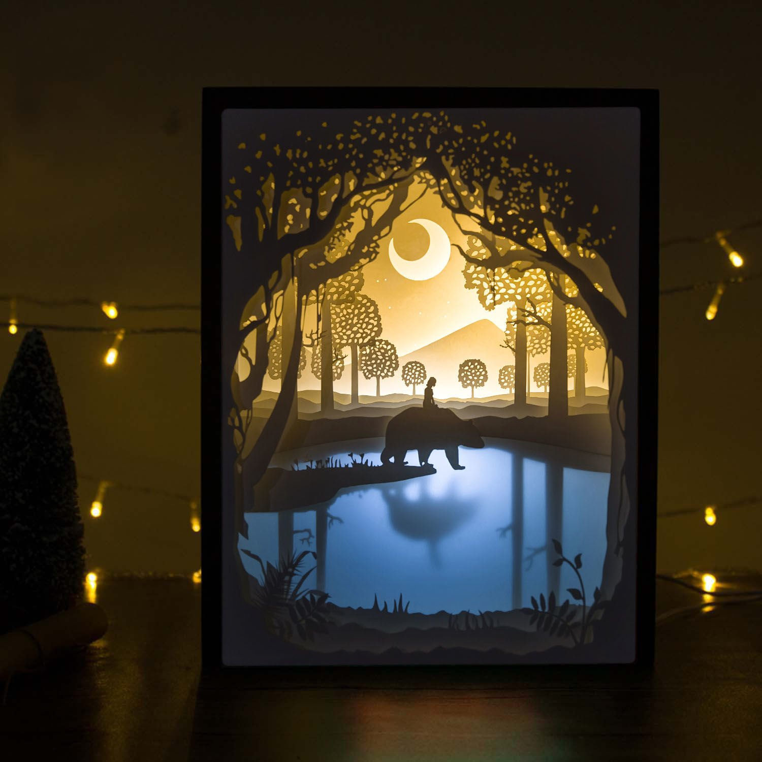 Amazon.com: Papercut Light Boxes, 3D Shadow Box Led Light Night Lamp,  Decorative Mood Light For Kids And Adults, Baby Nursery Kids Bedroom Living  Room Night ...