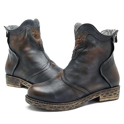 Socofy Mujer Cuero Bota Botas de Nieve Calientes Botines Plano Ocasional Anti Deslizante Zapatos para Otoño Invierno Al Aire Libre Vintage Casual Botín ...