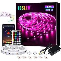 JESLED Tiras LED 5M, Sincronización de música Bluetooth, control de aplicaciones, Remoto de 44 Botones, 5050 RGB LED…