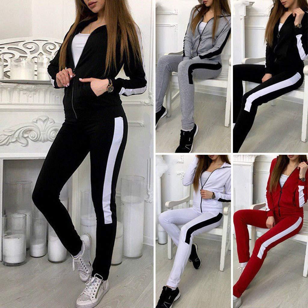 Pantaloni Lunghi DEELIN Moda Casuale Banda Cerniera Manica Lunga Completi Sportivi Donne
