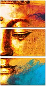 Kreative Arts - 3 Panels Canvas Prints Zen Art Wall Decor Vintage Buddha Painting Modern Home and Office Decor Photos to Prints Paintings on Canvas 12x20inchx3pcs …
