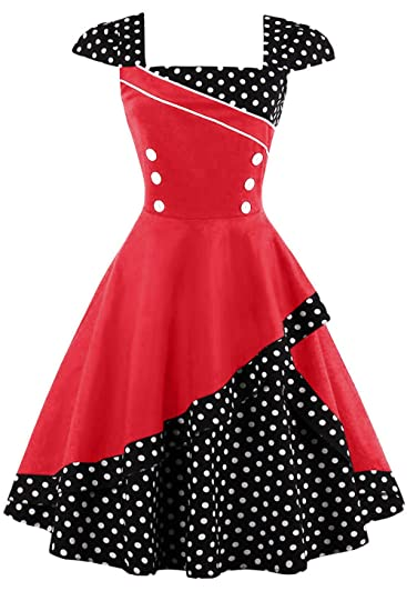 f1030a16378401 Damen 50er Jahre Vintage Rockabilly Kleid Pin up Cocktailkleid Polka Dots  Partykleid Knielang  Amazon.de  Bekleidung