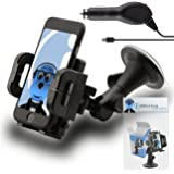 Black Windscreen, Case Compatible Clip On Suction Mount In Car Holder with 1000 mAh [1A] MicroUSB In Car Charger For Motorola Moto G4