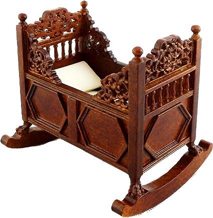 Dolls house oak rocking Cradle Crib Miniature 1:12 Nursery Furniture