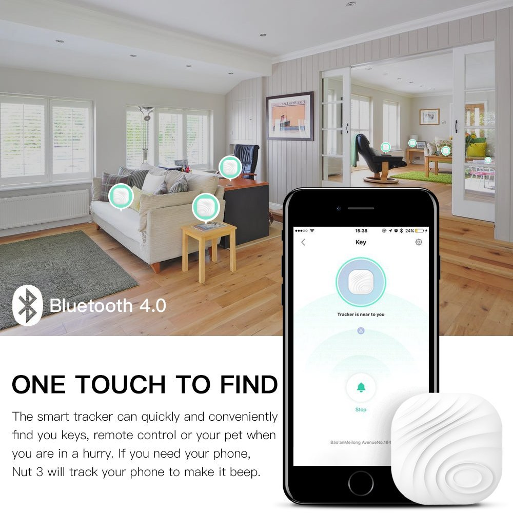 4 Pack Smart Key Finder Anti-Lost Tag Luxsure Cell Phone Wallet Bags Pet Tracker Nut 3 Mini Locator with App Control for iPhone//iPod//iPad//iOS Android Devices