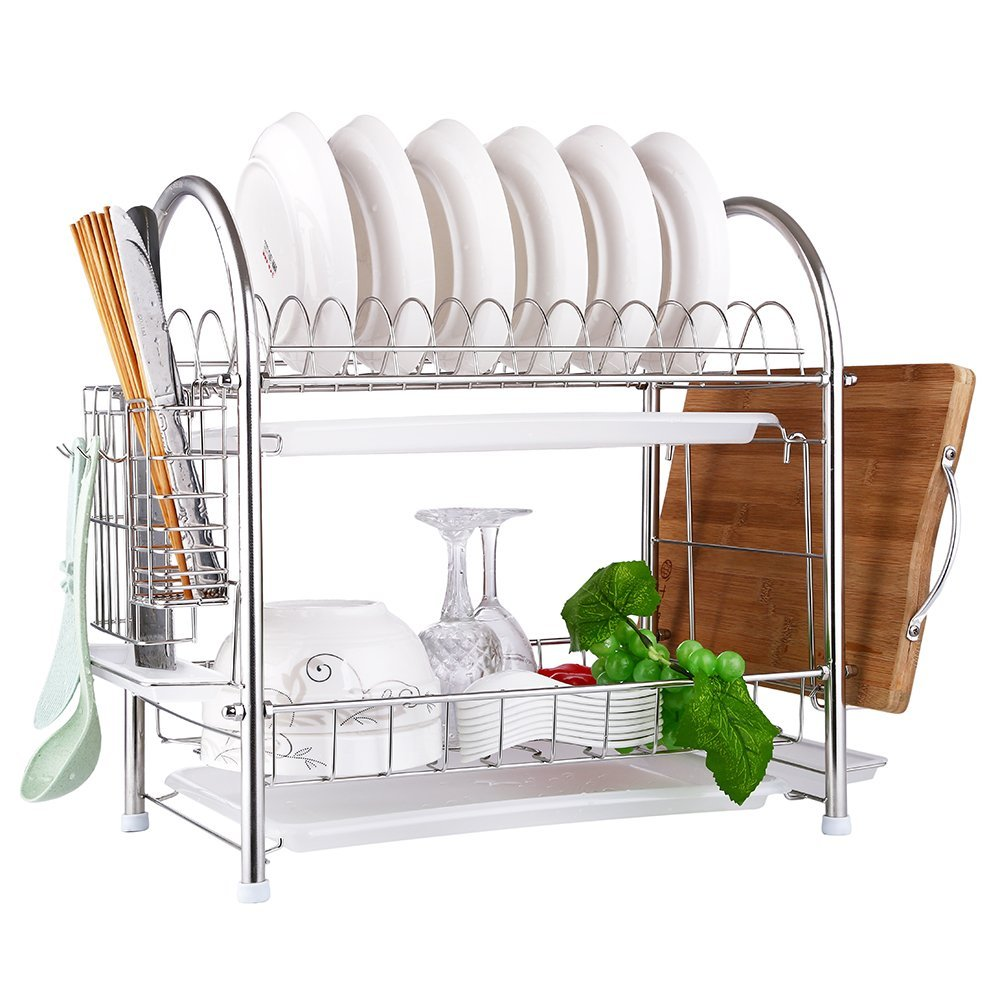 OKDEALS 2 Tier SUS304 Stainless Steel Dish Drying Rack With Tray, Enamel Utensil Holder, Plates Organizer Drainer, Kitchen Knife Rack, Dish Strainer for Counter