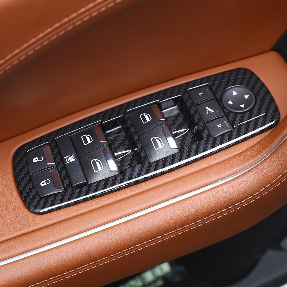 Senyar Window Lift Button Trim 6Pcs//Set Window Lift Button Trim Door Lock Sticker Carbon Fiber Cover Decor Car Interior Accessories Fit for Ni-ssan GTR R35 08‑16