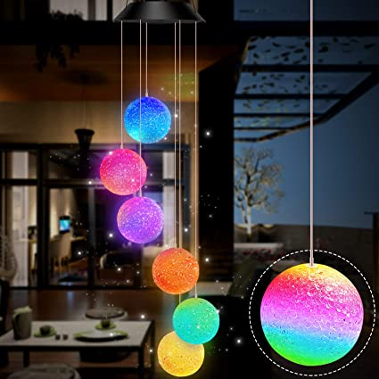 LED Colour Changing Hanging Wind Chimes Solar Powered Ball Lights Garden Outdoor