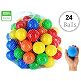EevOveE  24pcs Color Balls ( No Sharp Edges & Premium Quality Balls) for Kids / Pool Balls Genuine Quality Set of 24 Balls - 8 cm Diameter Similar Size of Cricket Ball