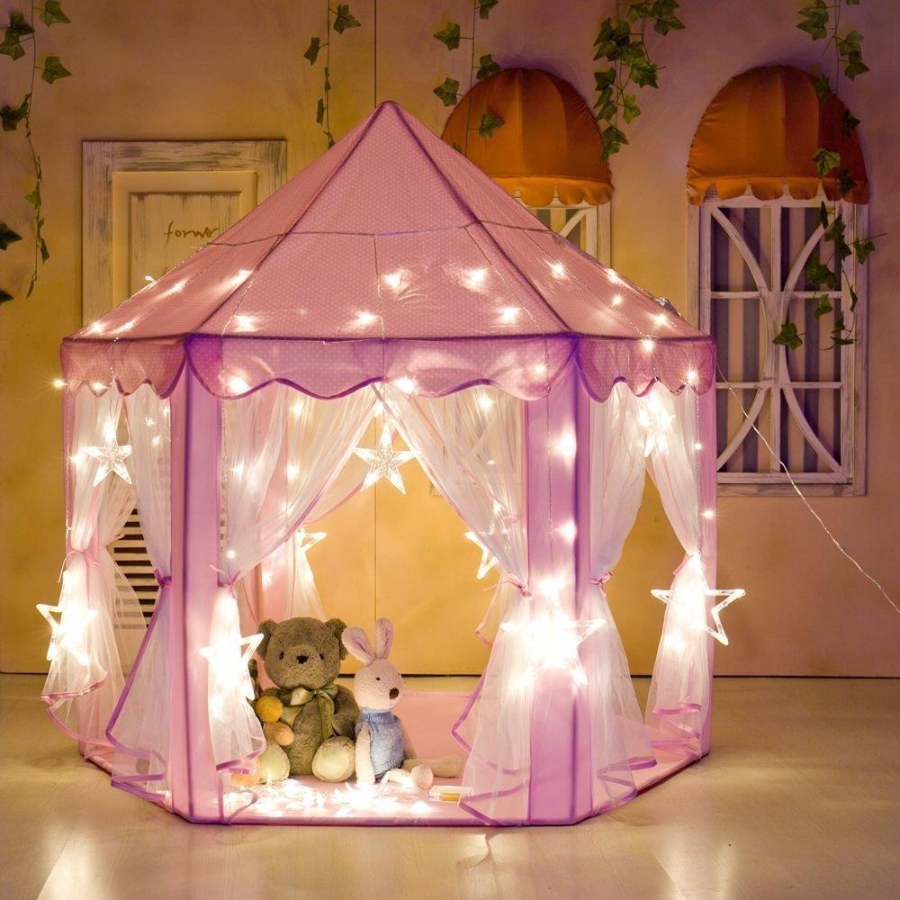 Tente de Jeu Princesse Rose Inté rieur Cadeaux avec 6M 40pcs Lampes Etoile de Couleur pour Enfants, Filles, Tout-Petits 139.5x135cm GOTOTOP