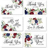 24 Floral Navy Burgundy Wedding Thank You Cards With Envelopes, Elegant Bridal Shower Thank You Note From The New Mr…