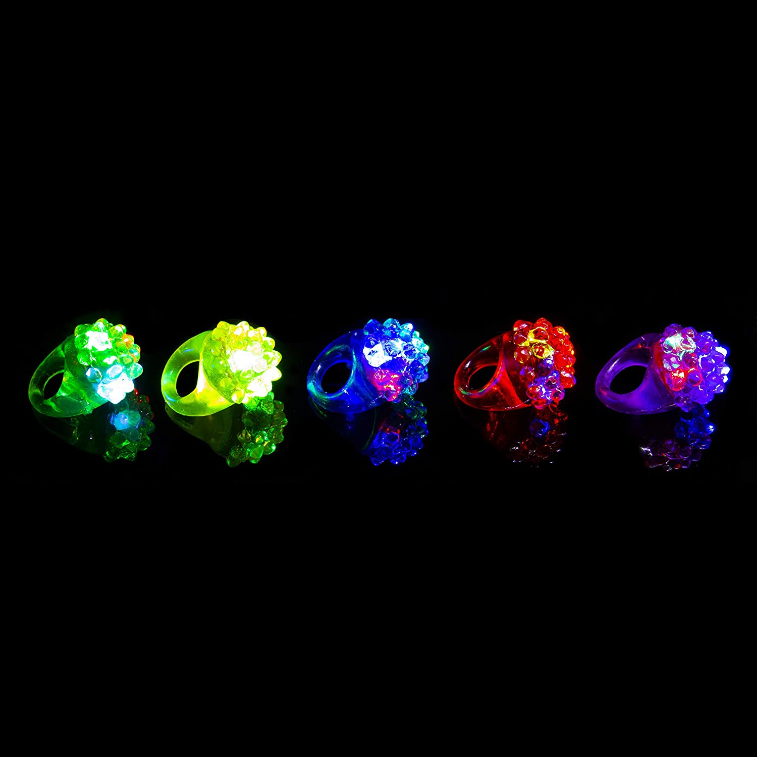 Pack of 2 Flashing Led Multi Coloured Bumpy Jelly Style Rings for Parties Party Favor Costumes Raves Gift Bags Light Up Finger Toy Glowing Adult Child Fun