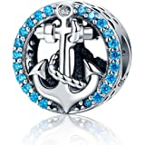 WOSTU 925 Sterling Silver Bead Charms Forever Family Charm Anchor Good Luck Charms Women Bead Charm Fit Bracelet…