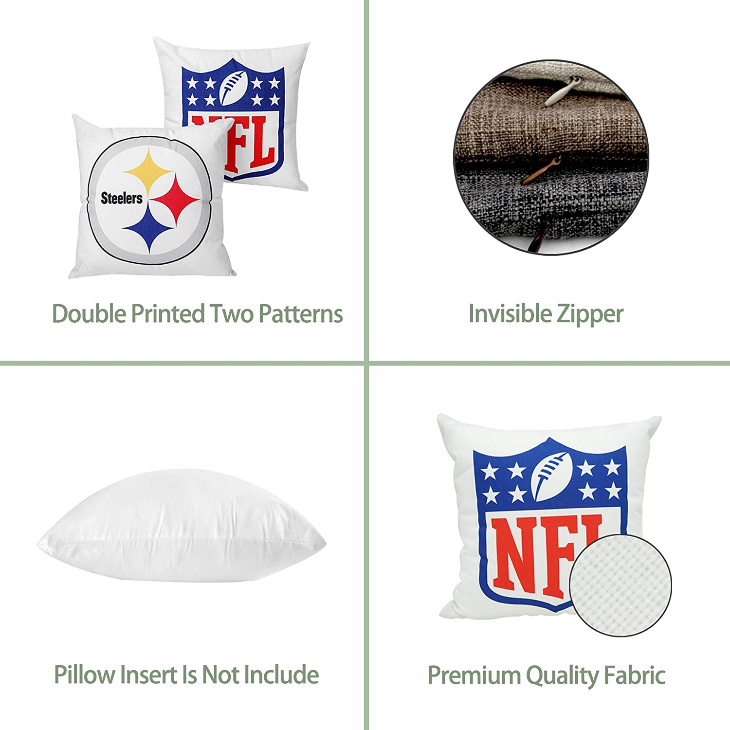 Xifan Pack of 2 Football Team Throw Pillow Cover Soft Cotton Linen Decorative Pillowcase for Pittsburgh Steelers/Team Double Printed with 2 Patterns Without Insert 18 x 18 Inches