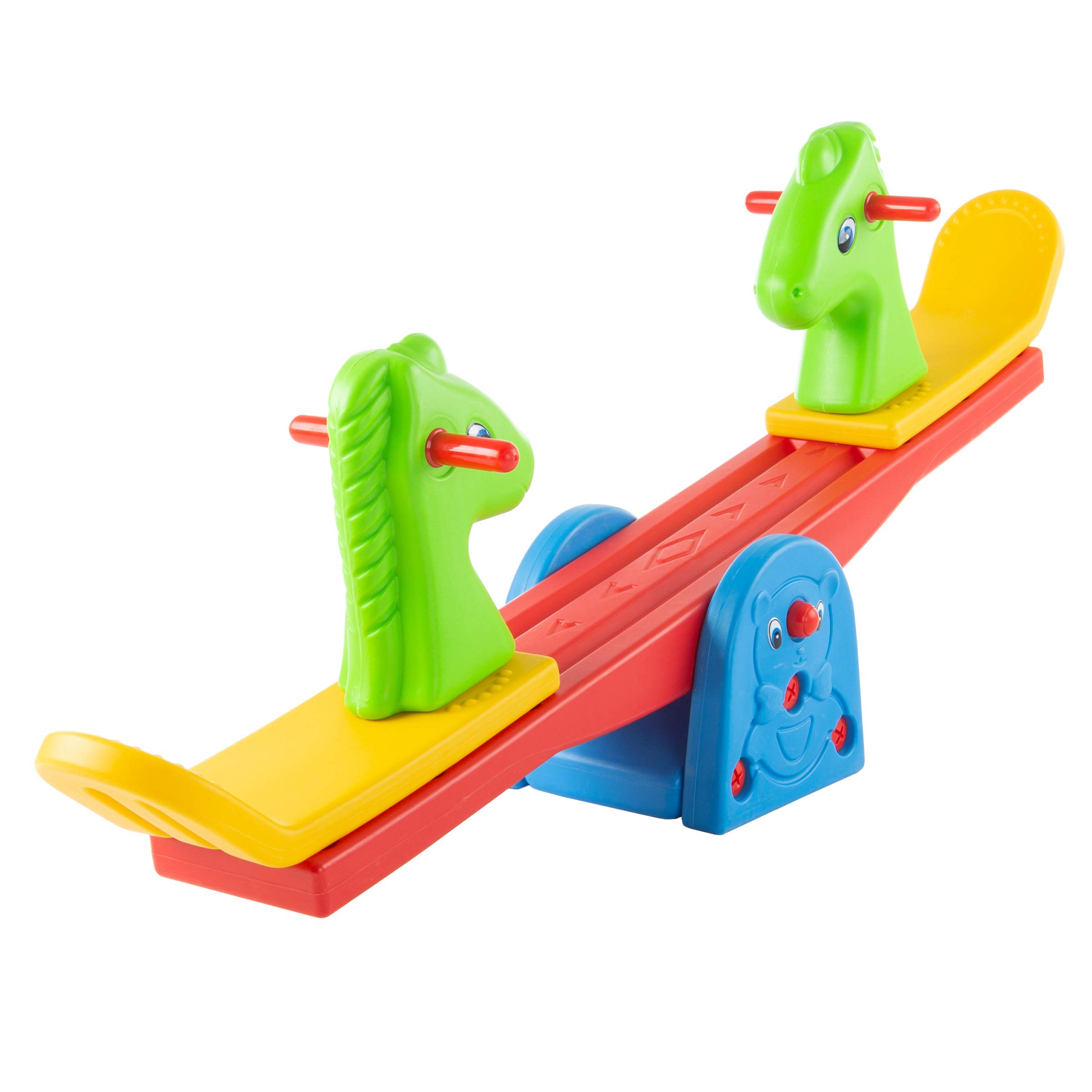 Hey!Play! Seesaw – Teeter Totter Backyard Or Playroom Equipment with Easy-Grip Handles for Toddlers & Children – Indoor Or Outdoor Rocker Toy