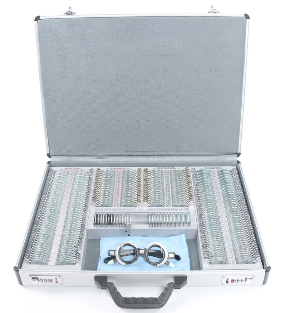 EFK-II Supply Optical 266 pieces Trial Lens Set Metal Rim Ophthalmic Trial case lenses with Aluminum Case