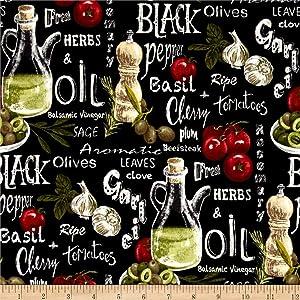 Fabri-Quilt Farmer John Garden Vegetable Mix Black Quilt Fabric By The Yard, Black