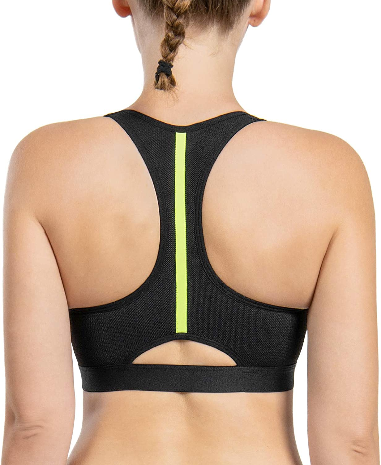 Wingslove Women/'s Front Closure Zip Sports Bra High Impact Racerback Wirefree Full Support Bra Bounce Control