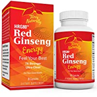 Terry Naturally HRG80 Red Ginseng Energy – 30 Capsules – Energy Support Supplement – Korean Red Ginseng Root Powder, Panax Ginseng, HRG80, Non-GMO, Vegan, Gluten Free – 30 Servings