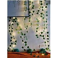 Dekoratif Yeşil üçgen Yapraklı Yapay Sarmaşık Gün Işığı (sıcak Sarı) Led Işık, 2,3 mt 30 Led