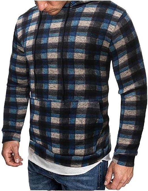 Fly Year-JP メンズビッグ&トールフレッシュファッションポケットクラシックプレイドフードスウェットシャツ Green Medium