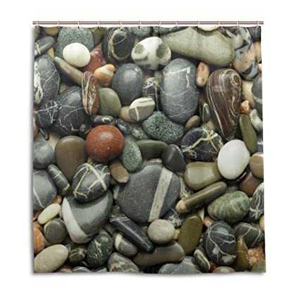 Amazon ALAZA Sea Pebble Stones Beach Rocks Shower Curtain