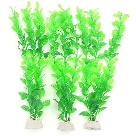 sourcingmap® Planta de plástico del acuario 3 pcs verde de plástico artificial para acuario
