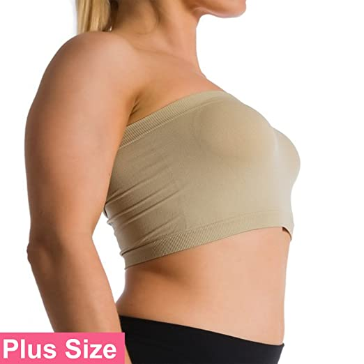 7ceec5abbc265 Ekimo T-USA Plus Size Seamless Strapless Bandeau Bra Tube Top Sports Bra  Yoga XL