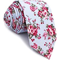 SHLAX&WING Cotton Ties for Men Skinny Necktie Printed Floral
