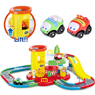 FUN LITTLE TOYS Toy Garage Playset 27.2'' x 13.4'', Race Track Set for Toddlers with 2 Racer Cars, Stem Learning Toy Vehicle Playsets: Toys & Games