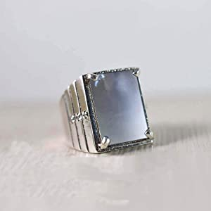 925 sterling silver ring, Rectagnle cab, Gray moonstone ring, Handmade, Wede band, Statement Jewelary, Heavy ring, latest Design, Natural Moonstone, Boys, Men's,