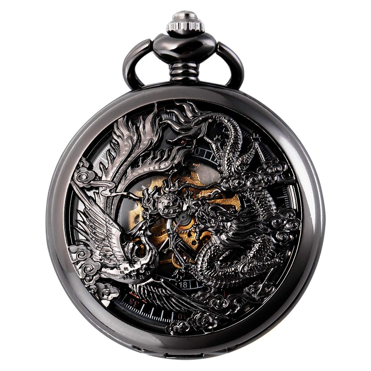 SIBOSUN Antique Phoenix and Dragon Skeleton Pocket Watch Mens Mechanical Black Half Hunter Hand Wind