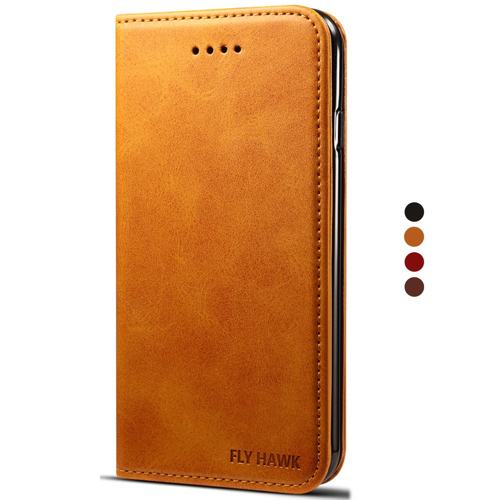 Leather Wallet Case Cover with Kickstand Flip Brown Cover for iPhone 8 FLY HAWK