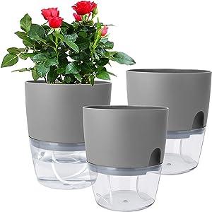 Vanavazon 6 Inch Self Watering Planter Pots for Indoor Plants, 3 Pack African Violet Pots with Wick Rope-Grey