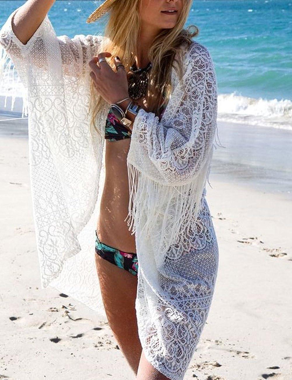 Bsubseach Frau B/öhmischen Chiffon Bikini Bedeckt Badeanzug Quaste Strickjacke