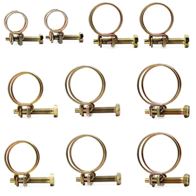 Aussel Assortiment de colliers de serrage en fil d'acier pour tube tuyau vis